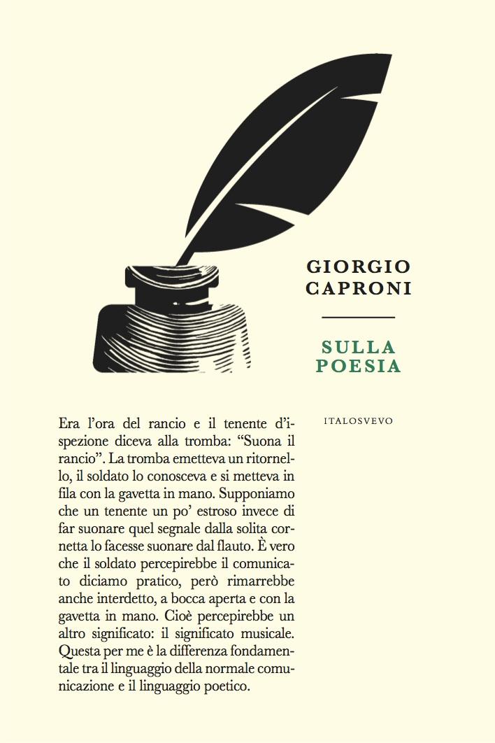 Italo Svevo Edizioni - Sulla poesia - Caproni